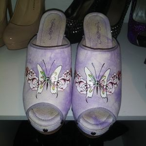 Ed Hardy high heels with a wood sole